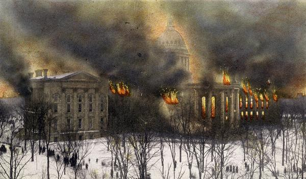 Flames shooting out of the Wisconsin State Capitol in 1904.
