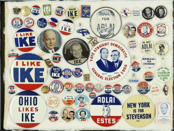Campaign buttons; Eisenhower v Stevenson