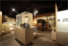 Visitor looking at Native American artifacts in an exhibit case.