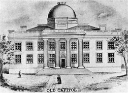 Lithograph of Wisconsin State Capitol building.
