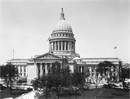Elevated view of the exterior of the current state capitol building.
