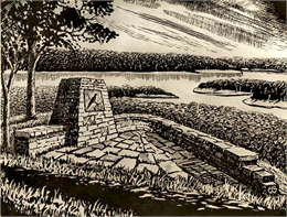 Sketch of monument in Wyalusing State Park.