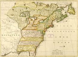 Color map of North American territories owned by the English and by the French.