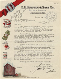 This letterhead highlights examples of the company's packaged goods.