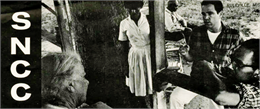 Cover of folding brochure issued by SNCC with a close-up black and white photograph of Bob Moses, Robert Parris and another female black volunteer talking to an elderly black woman on her porch.