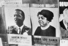 Black and white image of two election posters that say, 'Freedom Means Vote For Fanny Lou Hamer or Aaron Henry.'