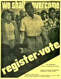 A stylized black-and-white drawing of a crowd of African-Americans standing outdoors. Printed on it are the words, 'We shall overcome. Register – vote.'