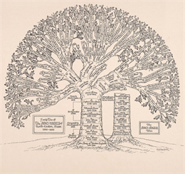 Black and white illustration of the Ames-Angier Family Tree.