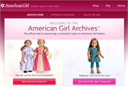 Screenshot of the American Girl digital archive welcome screen.