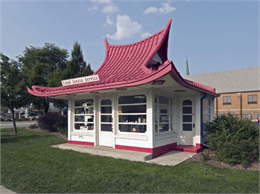 A pagoda-style filling station in West Allis, Wisconsin.