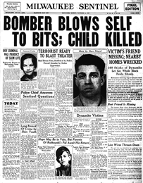Newspaper page one, headline reads that the bomber blows self to bits, child killed.