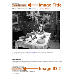 How to find the Image Title and Image ID number for historical images on our website.