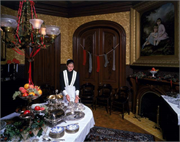 The elegant Villa Louis dining room decorated for the Christmas holidays.