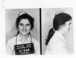 Mug shot of Freedom Summer volunteer Mimi Feingold.