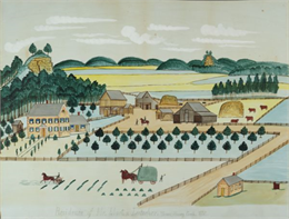 Watercolor painting depicting the residence of Mr. Martin Lutscher