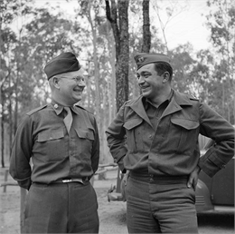Lieutenant Colonel Philip F. La Follette and Captain William Kurkeet, of Madison, Wisconsin, chatting at Camp Cable, near Brisbane, Australia