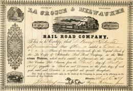 Stock certificate in La Crosse & Milwaukee Railroad, 1857.