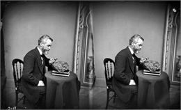 Stereograph portrait of Increase Allen Lapham (1811-1875) examining the sixth fragment of a 33 lb. meteorite found in Trenton, Washington County, Wisconsin in 1871.