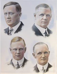 An image containing portraits of the four founders of Harley-Davidson. They are clock-wise from upper left: William S. Harley, William A. Davidson, Walter Davidson Sr., Arthur Davidson.