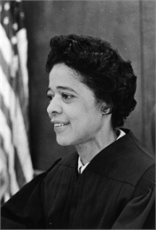 Portrait photo of Vel Phillips in court wearing her judge's robes.