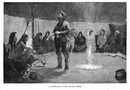Engraving of a fur trader standing in the middle of a circle of seated Indians in their council tepee.
