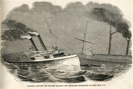 Engraving of the collision between the Atlantic and the Ogsdenburg.