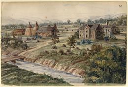 Hölzlhuber's painting of the Schultz farm near Stevens Point.