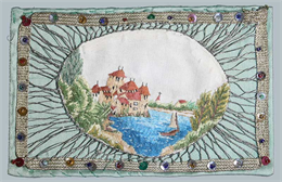 Sauerhering card embroidered with the image of the Chateau de Chillon, Switzerland, ca. 1948–1956. The work is mounted on cardboard covered in pale green silk.