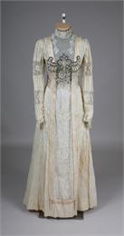 1909 wedding dress worn by Ellen Mary (Hawley) Scott at her wedding to Harry Earle Scott in Argyle (Lafayette County), Wisconsin.  1972.97.1