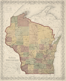 Historic map of the state of Wisconsin.