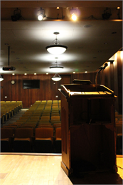 The view from the stage of the Society's Headquarters Auditorium.