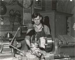 Henry Schmidt, an employee of the Plastics Division of the Consolidated Paper Company, during World War II.