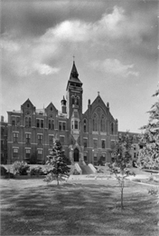 Black and white photograph of the exterior of the chapel at Saint Clara Academy.