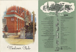Front cover and menu page from the Madison Club, with an illustrated three-quarter view of the corner of the club building and a view of the main entrance on the side of the building, perpendicular to the sidewalk.