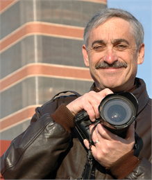This is an image of Mark Hertzberg, author and photographer of three books about Frank Lloyd Wright's work in Racine.