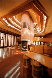 This is an image of the interior of Frank Lloyd Wright's Wingspread.