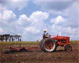 Farmall M Tractor and Disc Harrow, 1949 WHI 8726.