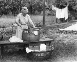 Woman with Wringer Washtub, 1920. WHI 3846