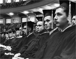 Graduates in Caps and Gowns, Wis, 1957. WHI 7491