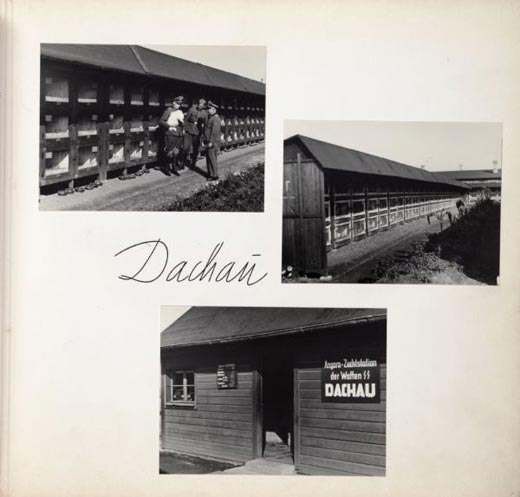 Three photographs of rabbit hutches at Dachau concentration camp in Germany in 1943.