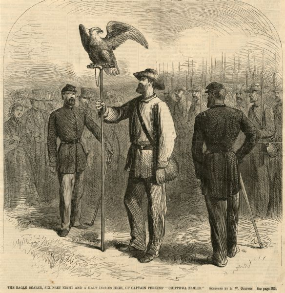 Engraving of Old Abe, mascot of the 8th Wisconsin Civil War Voluntary Infantry, displayed for a crowd. The eagle bearer holds Old Abe's staff perch while two other uniformed soldiers stand nearby.