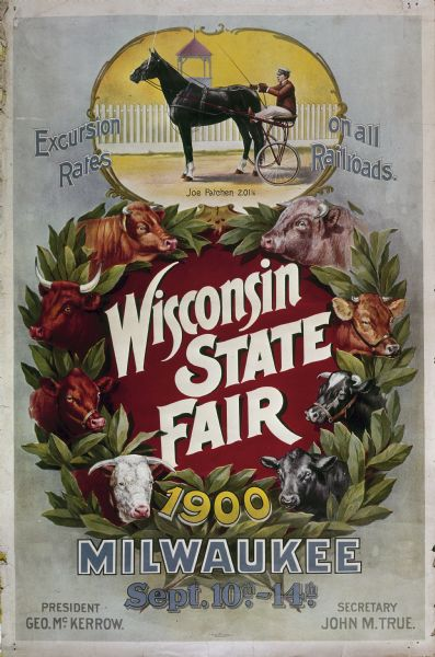 A poster of a wreath decorated with cattle images instead of flowers, which advertises the 1900 Wisconsin State Fair.