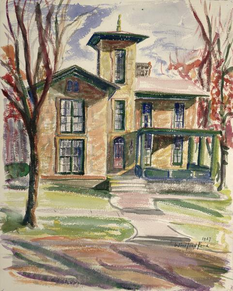 A watercolor drawing of the Bashford house at 423 North Pinckney Avenue.