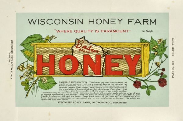 Wisconsin Honey Farm, Label