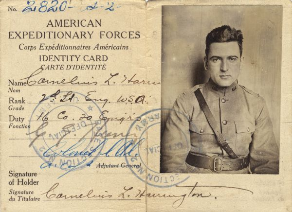 Neal Harrington was assigned to the American Expeditionary Forces in October 1918. He was sent to France with the 20th Engineering Corp as a 2nd lieutenant. On the way to France he survived the February 1918 bombing and sinking of the Tuscania.