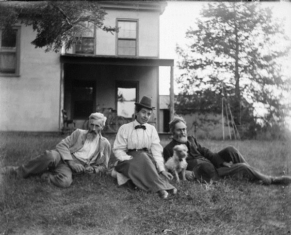 Outdoor group portrait of Thomas Turvill, William Turvill and Anna McConnell taken by Blanchard Harper.