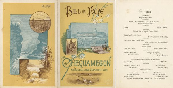 Exterior and interior bill of fare from The Chequamegon.