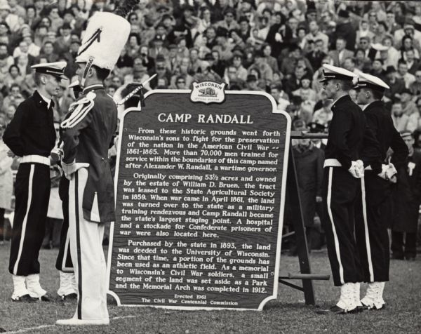 The dedication ceremony of the Camp Randall historical marker.