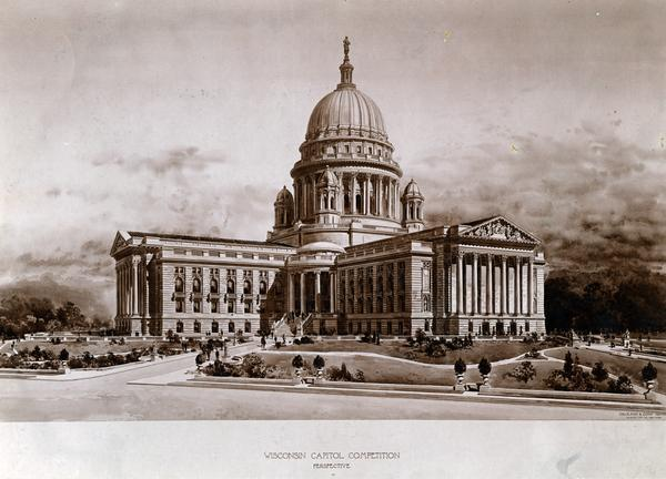 Architect's design of the 4th Wisconsin State Capitol building.