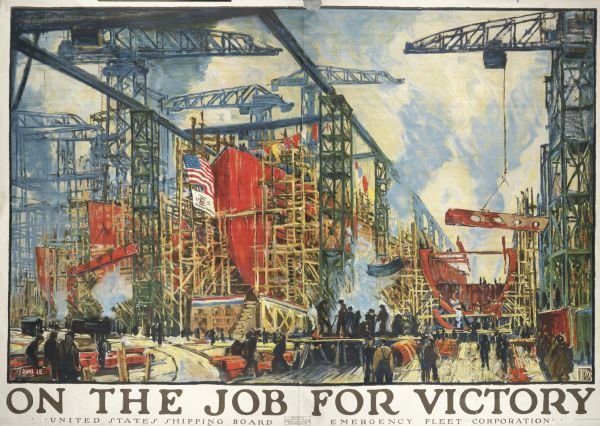 Poster featuring an illustration of the inside of a shipping manufacturer, with men working near a ship in drydock.